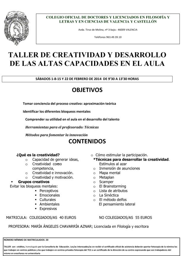 Microsoft Word - TALLER DE CREATIVIDAD Y DESARROLLO DE LAS ALTAS