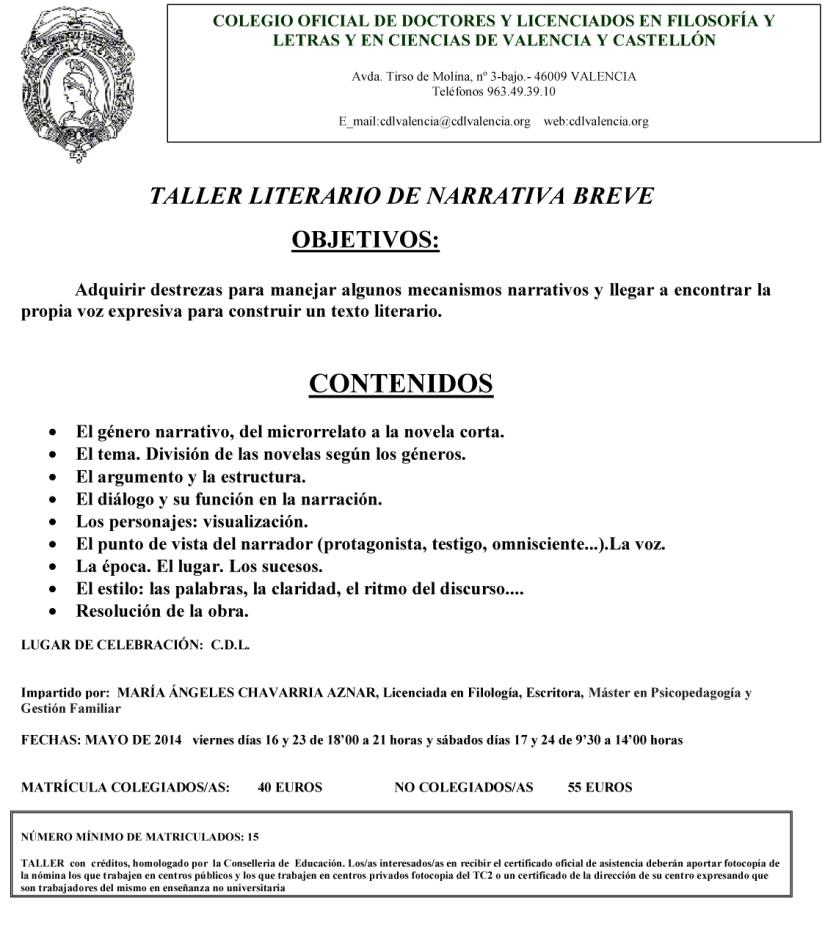Microsoft Word - TALLER LITERARIO DE NARRATIVA BREVE