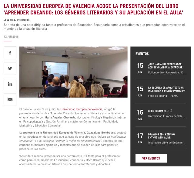UE Noticia Presentación libro M.A. Chavarría