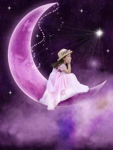 Foto niña en luna