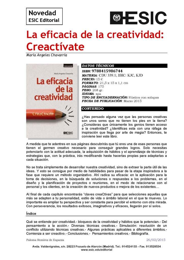 María Ángeles Chavarría La eficacia de la creatividad Creactívate
